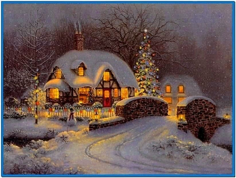 Snowy Christmas Cottage Screensaver