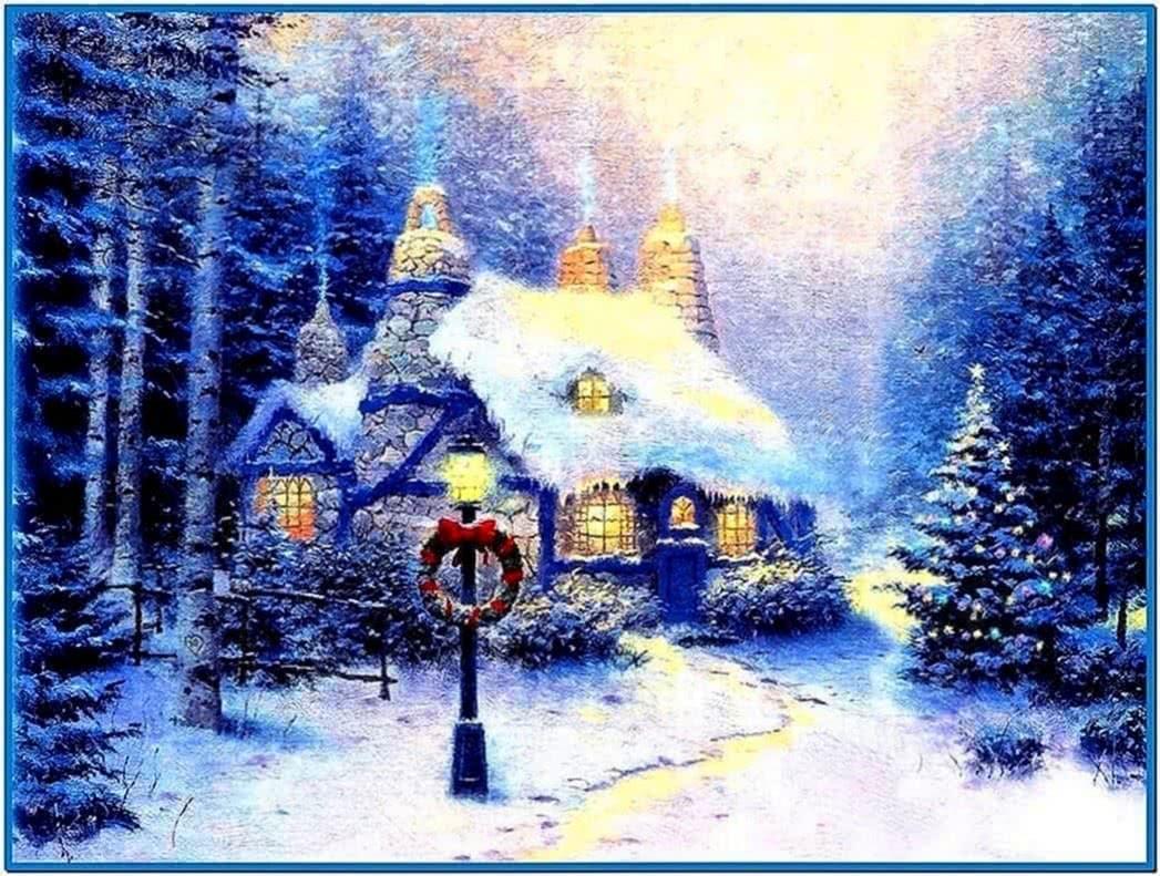 Snowy cottage screensaver full
