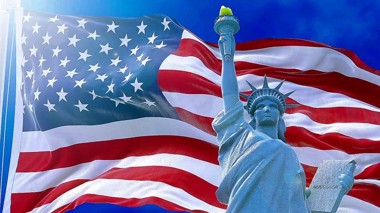Music relaxing screensaver with flag of USA