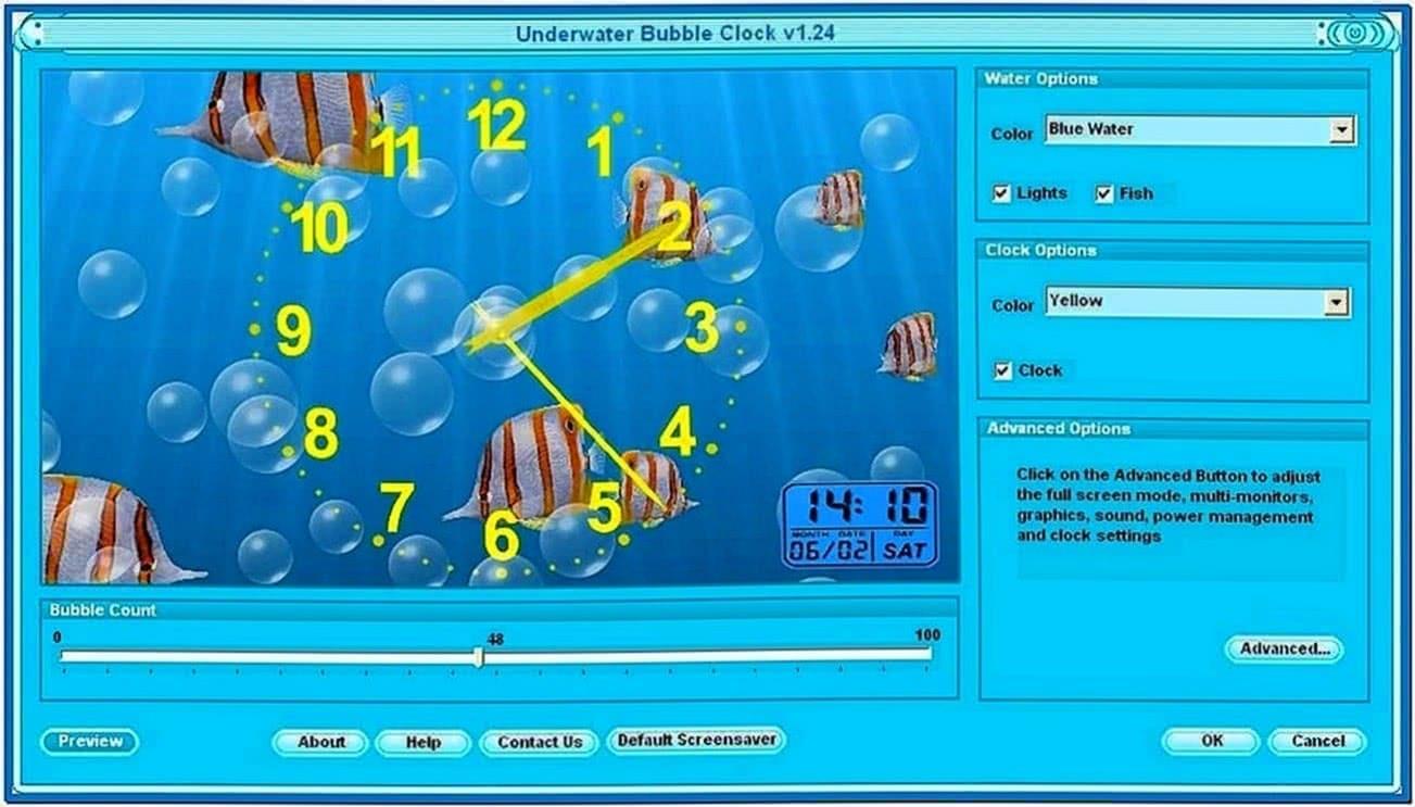 Underwater Clock Bubbles Screensaver 1.23.2