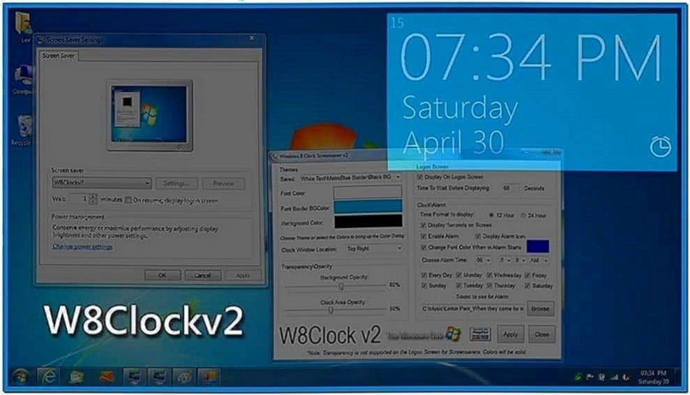 Windows 8 Clock Logon Screensaver Windows 7