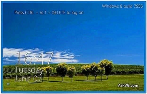 Windows 8 Metro Logon Clock Screensaver