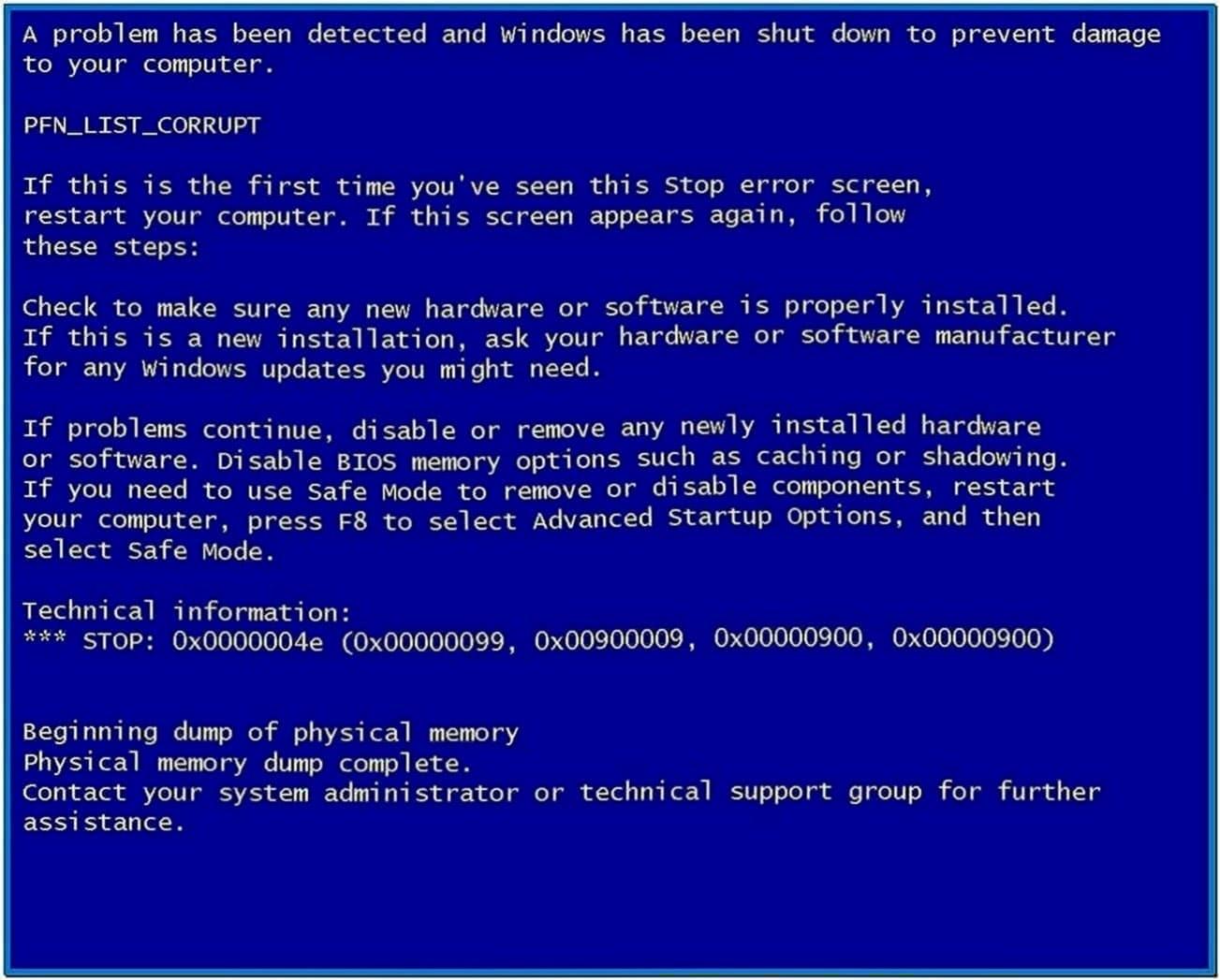 Windows Blue Screen Screensaver