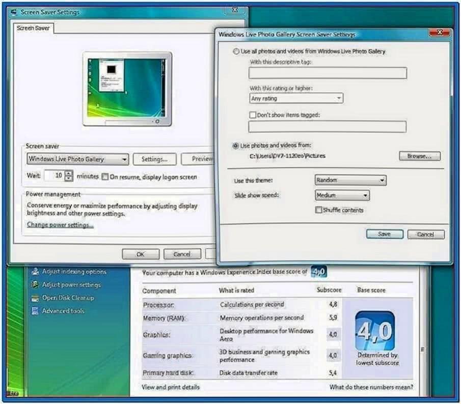 Windows live screensaver themes