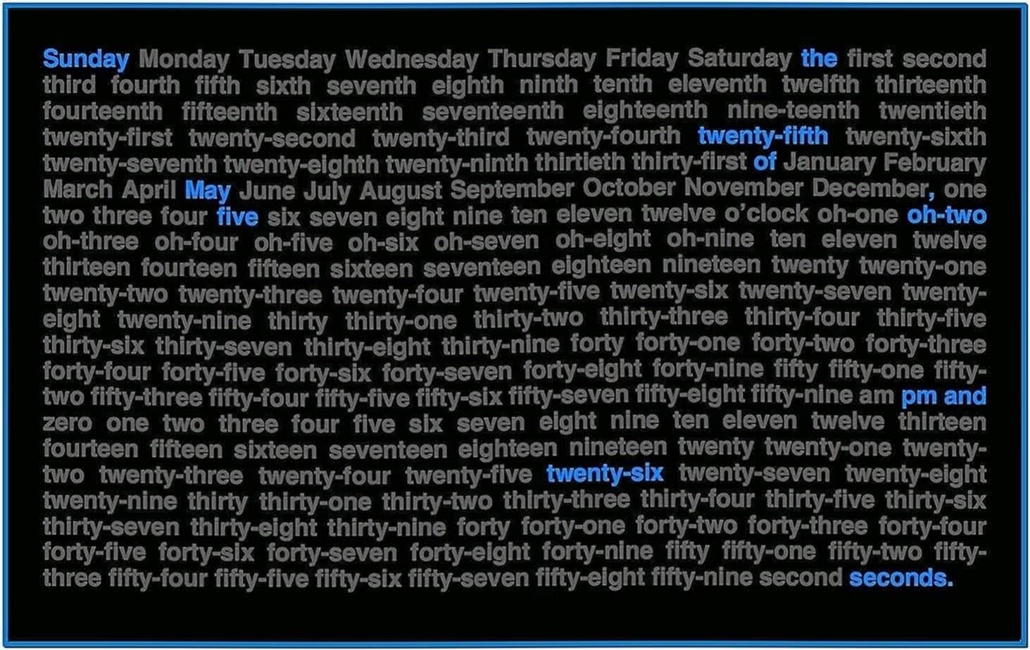 Word Clock Screensaver Mac