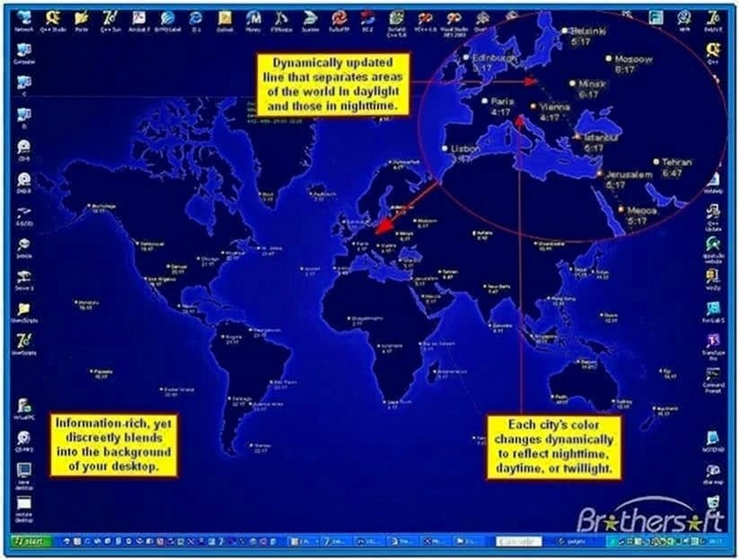 World clock desktop screensaver
