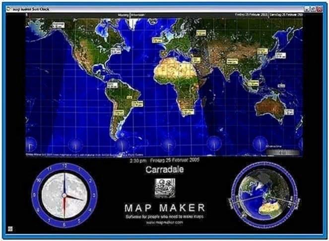 World Map Clock Screensaver   Free Printable World Map