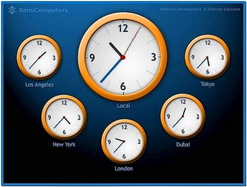 World Clock Screensaver Time Zones
