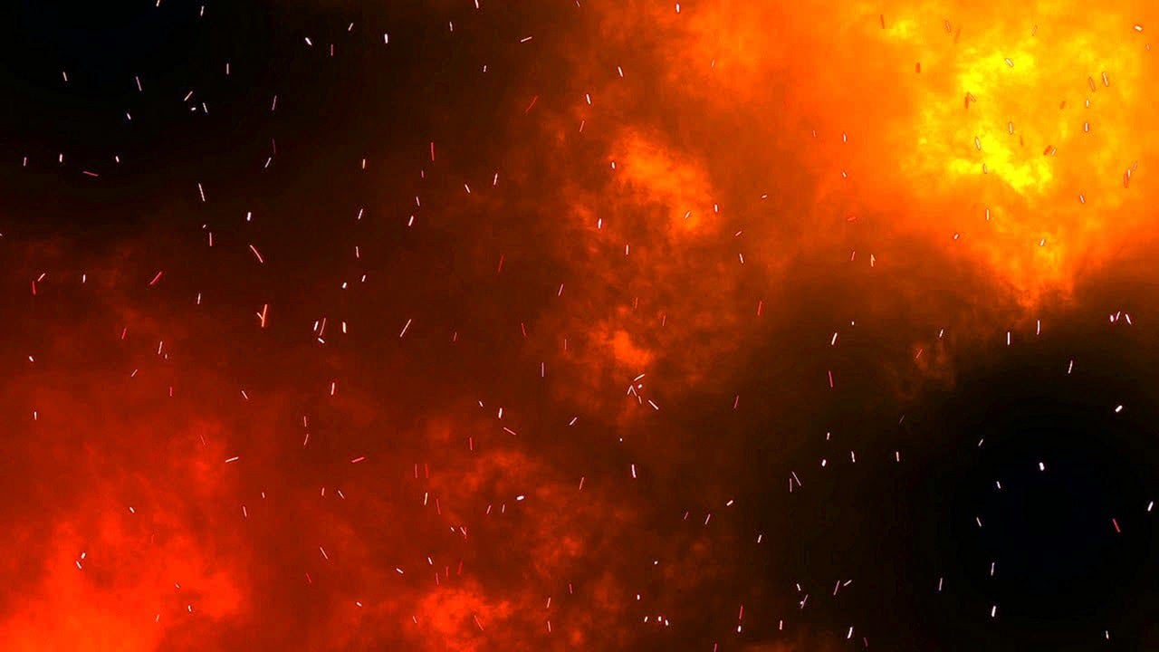 Flames and a Burning Red Night Sky 4K Relaxing Screensaver